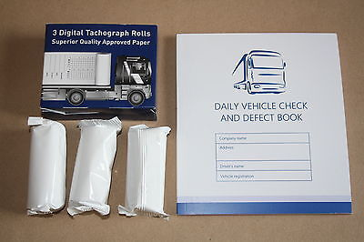 3 Rolls Digital Tachograph Rolls plus Daily Vehicle Check and Defect Book