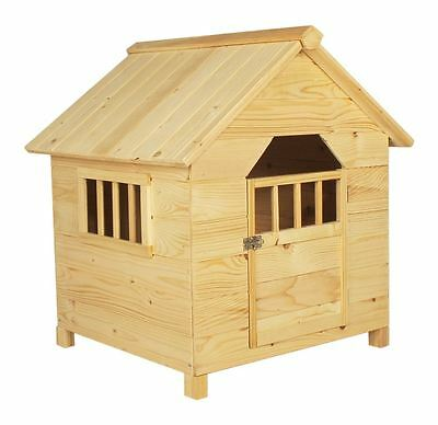 Light Wood Wooden Outdoor Pet Dog House Kennel Home Garden Shelter Locakble Door
