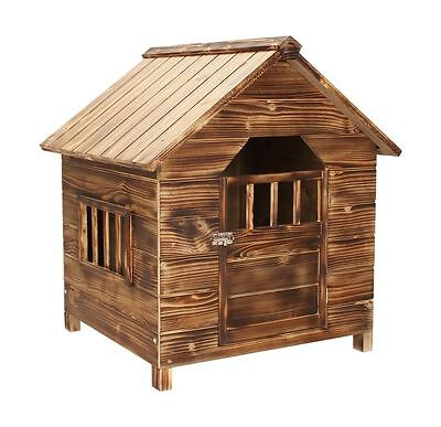 Dark Wood Wooden Outdoor Pet Dog House Kennel Home Garden Shelter Locakble Door