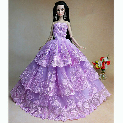 Purple Wedding Gown Dresses Clothes Party For Princess Barbie Doll Gift