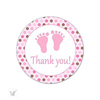 1 5 Inch Round Baby Shower Stickers Pink Thank You For Showering Us With So Much Love Pink Foot Print Labels Stickers Color Coding Labels