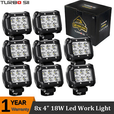 8x 18W LED WORK LIGHT BAR 4INCH Cree Spot Off Raod Lamp For 4WD Boat Ute ATE Suv