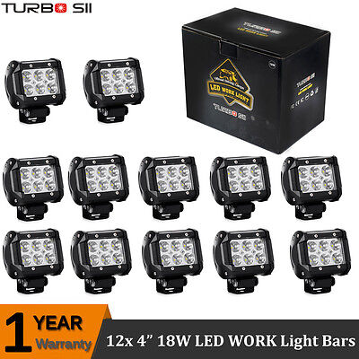 12x 4inch 18W Cree Spot LED Work Light Bar OFFROAD 4WD TRACTOR ATV SUV PODS JEEP