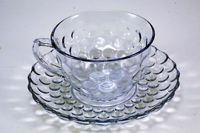 Mid Century Sapphire Blue Bubble Hocking cup and saucer ANCHOR HOCKING