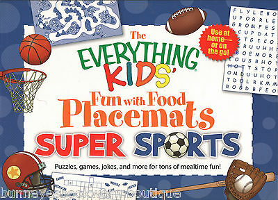 SUPER SPORTS Placemats GAMES Puzzles JOKES Activities BRAIN TEASERS Pad BOOK