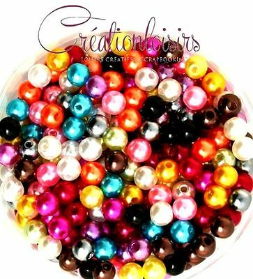 Lot de 100 Perles ronde nacré acrylique multicolre 6 mm