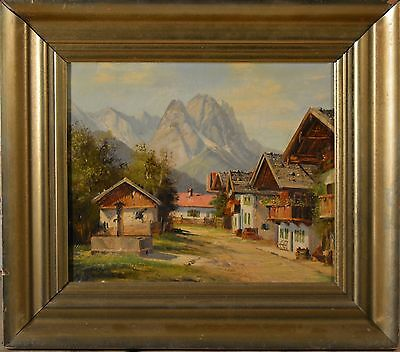 Beautiful Antique European Oil Painting on Canvas, Signed, Mountain Village!!