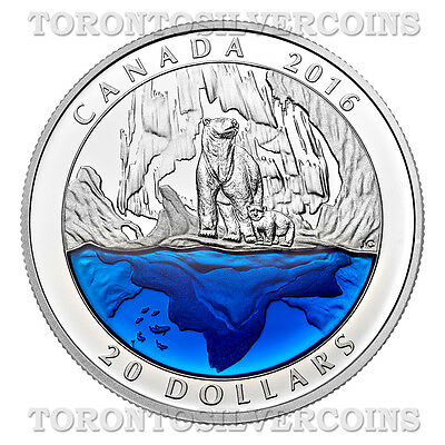 2016 Canada $20 Silver Coin Polar Bear with Blue Enamel - EXCLUSIVE Masters Club