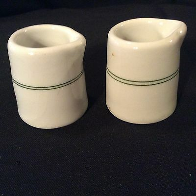 "Vintage White 2"" Creamers With Green Stripes Restaurant Ware Set of 2"