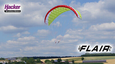 Hacker Para RC ARF Glider Set Backpack drive Parachute Flair Red/White/Lime