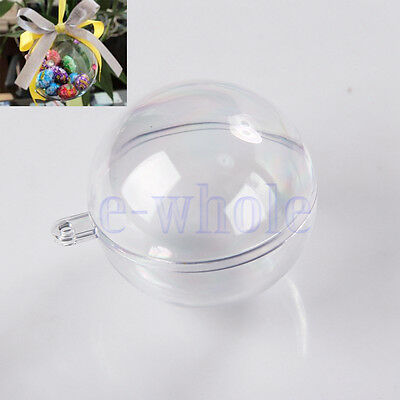10pcs 5 Ball Christmas Baubles Clear Fillable Xmas Tree Decoration Ornaments  WS