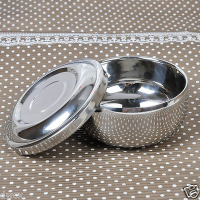 Shinnying Stainless Steel Double Layer Shaving Mug Bowl Cup w/Lid for brush Soup