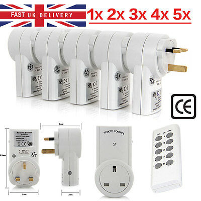 1/3/5 Pack UK Remote Control Socket Wireless Switch Mains Plug AC Power Outlet