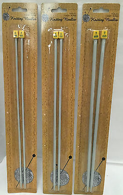 New metal Knitting needles 34.5cm sizes 4, 5 & 7 mm set of 2 grey wool knit long