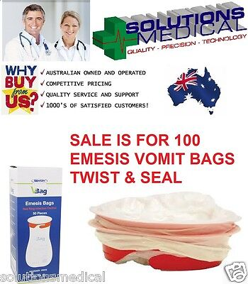 Vomit Bags X 100 First Aid Emesis Odour-Free Twist & Seal First Aid Emesis
