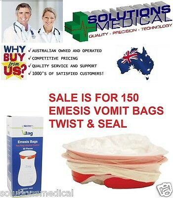 Vomit Bags X 150 First Aid Emesis Odour-Free Twist & Seal First Aid Emesis