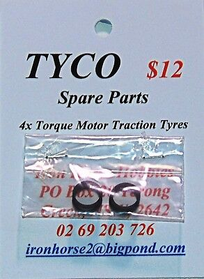 Tyco Model Train Spares 4x Traction Tyres for Torque Motor