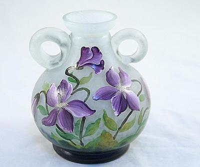 France Daum Nancy Vase Flowers Cameo Glass Hand Painting 30's