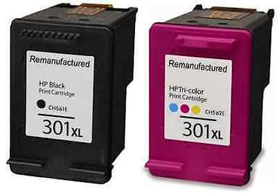 Refilled HP 301XL  Black And Colour Ink Cartridges For HP Deskjet 2542
