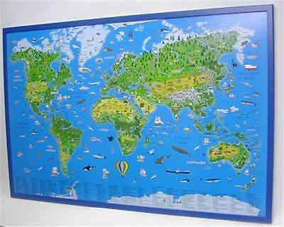Illustrated Children World Map on Cork Pin Board 90x60cm New #199070