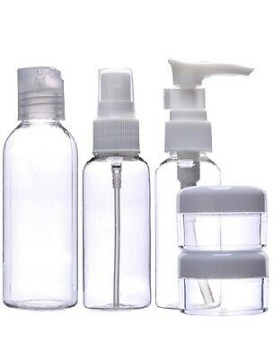 6 pc Toiletry Travel Bath Set Clear Bottle Air Port Flight Holiday