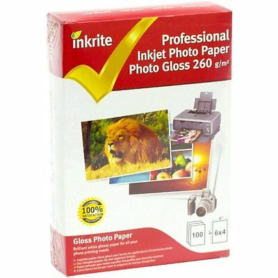 Inkrite Professional Photo Paper / Photo Gloss / 260Gsm / 6X4 Size / 100 Sheets