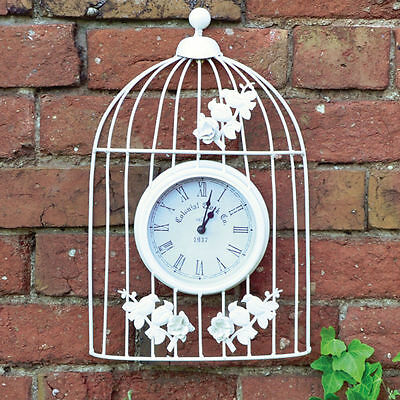 White Shabby Chic Metal Vintage Style Ornamental Bird Cage Garden Wall Clock UK