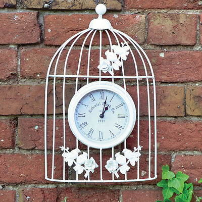 Whitewash Shabby Chic Metal Vintage Style Ornamental Bird Cage Garden Wall Clock