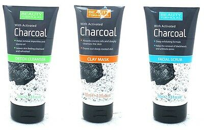 Pack Of 3 Beauty Formulas With Charcoal Face Scrub, Detox Cleanser & Face Mask