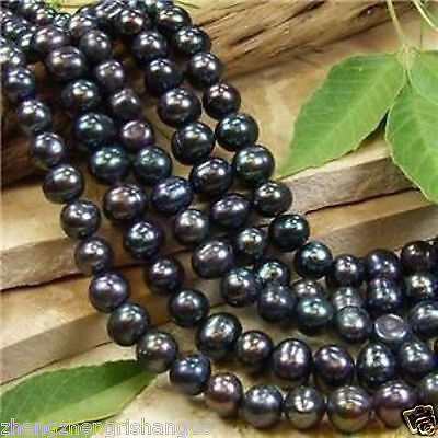 6-7MM Black Akoya Pearl Round Loose Beads 15""