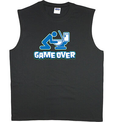9b81aba0de Men's sleeveless t-shirt game over drunk beer funny saying muscle tee tank  top
