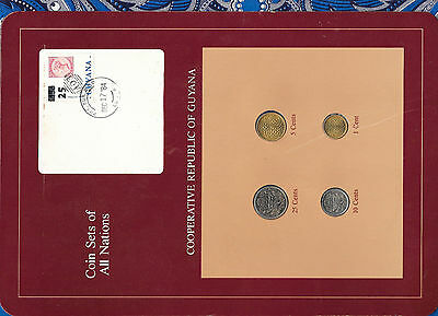 Coin Sets of All Nations Guyana UNC 25, 10, 5 cents 1985 1 cent 1982