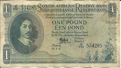 South Africa 1 Pound 1957  P 92. F-Vf Condition. One Note. 4Rw 25Abril
