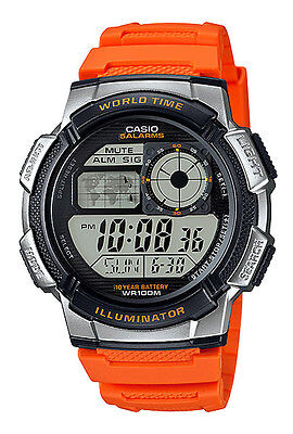Casio AE1000W-4BV Men's Orange Resin Band 5 Alarms Chronograph World Time Watch