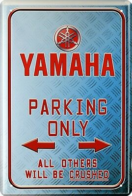 YAMAHA PARKING ONLY BIKE MOTORRAD BIKER BLECHSCHILD 20x30 TIN SIGN 961