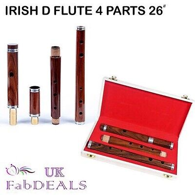 """Irish Wooden Flute Professional Rosewood D 4 parts Natural Finish 26"""" Box Pack"""