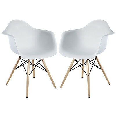 Modway Furniture Pyramid Dining Chairs Set of 2 in White EEI-929-WHI Chair NEW