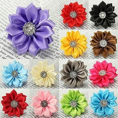 10pcs Satin Ribbon Flowers Bows with Appliques Sewing DIY Craft Wedding