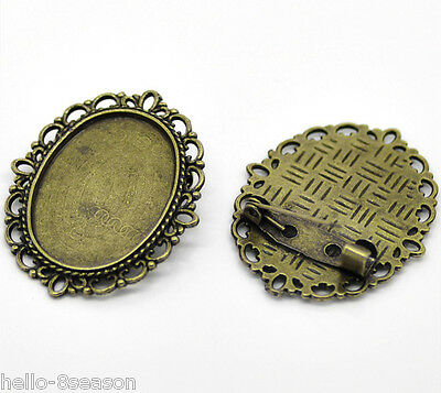 30 Bronze Tone Oval Cameo Frame Setting Brooches 3.6x2.9cm(Fit 25x18mm)