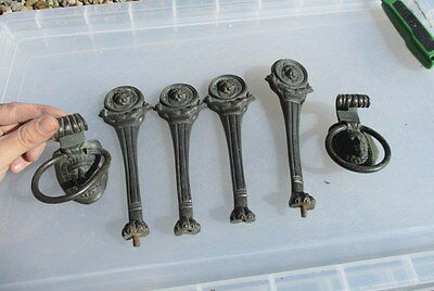 Antique Copper Furniture Legs Handles Pulls Pharaoh Lions Head Paw Fish Vintage
