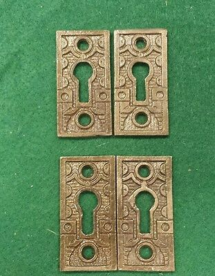 2 Pairs Decorative Victorian Style Key Hole Covers  Cast Iron