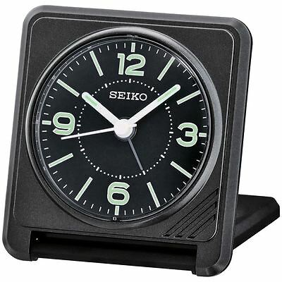 Seiko QHT015J Sweep Bedside Travel Alarm Clock - Black New