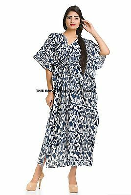 New MALAYA 100% Cotton Kaftan Dress Maxi Long Tunic Batik One Size Plus Beach