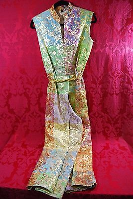 Glamorous! 1970's JOSEPH MAGNIN Multi-Color Gold Accented Jumpsuit Retro Hippie