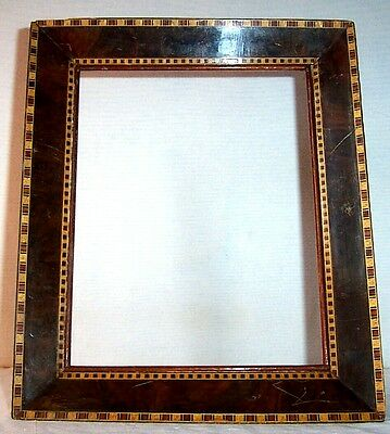 Vintage Picture Frame , Decorated Veneered Wood with Aluminum Support Stand