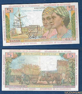 Outre-Mer - 5 Francs 1964 (ND) G.1 Martinique Guadeloupe Guyane Qualité SUP