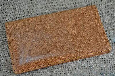 VINTAGE 1950s tan pigskin leather wallet with gilt pencil brown
