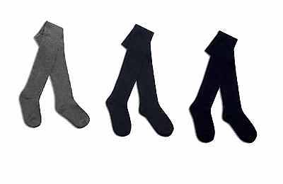Girls Cotton Rich School Tights Winter Warm Thick Age 3 -13 Yrs Black  Grey