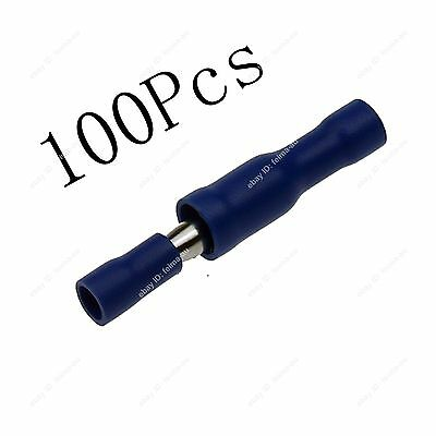 100Pcs Blue Insulated Bullet Butt 16~14AWG Wire Crimp Terminals 20838