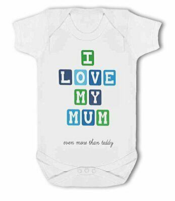 I Love My Mum with personalised saying blue gift - Baby Vest